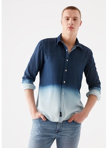 Mavi Batik Desenli Denim Gömlek Lacivert